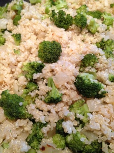 Quinoa, Caramelized Onions and Broccoli
