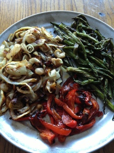 Roasted Asparagus, Red Peppers and Onions